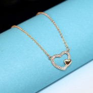Fashion Double Open Heart Clavicle Lover Necklace