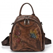 Retro 3D Butterfly Flower Leaves Leather Multi-function Original Shoulder Bag Backpack
