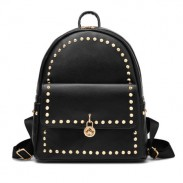 Simple Rivet Backpack Flower Lock Solid Color School Bag