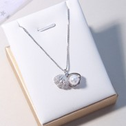 Fresh Shell Pearl Silver Necklace Friend Gift Women Necklace