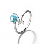 Fashion Mermaid Tail Lover Gift Opal Open Silver Women Ring