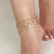 Vintage Multi-layer Crystal Beach Leaves  Personalized Feet Accessory Anklet