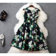 Fresh Style 3D Printing Organza Slim Dress