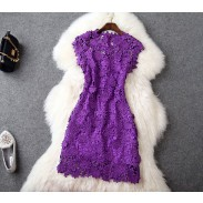 Sexy Flower Embroidery Elegance Purple Dress