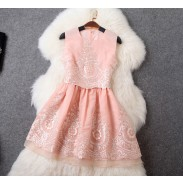 Fashion Embroidered Fake Two Pieces Dress Vest Skirt