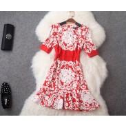 Retro Flouncing Printed Short-sleeved Slim Dress