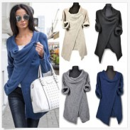 Women's Cross Wrap Front V Neck Long Sleeve Knit Loose Sweater