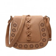 Vintage Saddle Mori Style Hollow Flower Weave Shoulder Bag