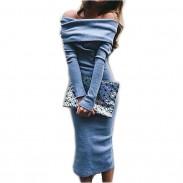 Women Fashion Long Sleeve Strapless Low Cut Bodycon Dress