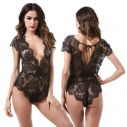 Sexy Leaves Perspective Conjoined Underwear Black Lace Intimate Lingerie