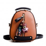 Leisure Multi-function Shoulder Bag Simple Vertical Zipper Bear Decor School Backpack