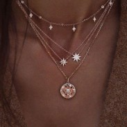 Unique Star Diamond Multi-layer Pearl Women Sweater Necklace