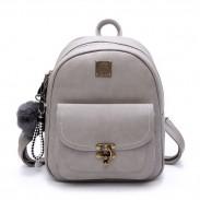 Unique Lock Button Retro Pure Color Student Bag PU Women Backpack