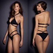 Black Set Halter Push-up Swimsuit Bikinis