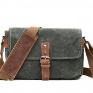 Retro Thick Canvas Outdoor Single Button Messenger Bag Shoulder Bag
