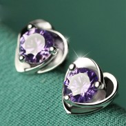 Charming Purple Diamond Zircon Elegant Heart-shaped Silver Earrings