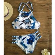 Flower Forest Leaves Printed Bikini Set New Blue Swimwear