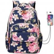 Fresh Flower USB Large Capacity Laptop Bag Student Backpack Rose School Bag