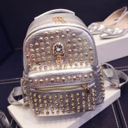 Rivet Fashion Diamond Skull College Backpacks