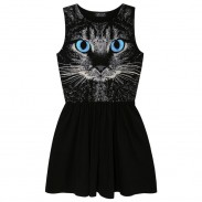 Fashion Cat Punk Sleeveless Vest Dress