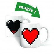 Lover Gift Pixel Heart Print Color Changing Cup