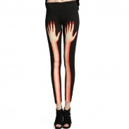 Punk Finger Bones Stitching Hand Graffiti Leggings