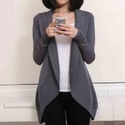 Casual Cardigan Lapel Asymmetrical Hem Solid Long Sleeves Sweater