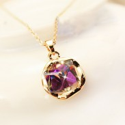 Vintage Shiny Gradient Purple Rhinestone Necklace