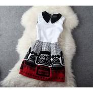 Vintage Palace Folk Style Totem Sleeveless Party Dress &Dress