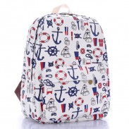 Unique Anchor Printed Canvas Backpack