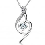 Love Crystal Diamond Silver Necklace