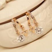 Crystal Zircon Flower Cross Plated Gold Ear Studs