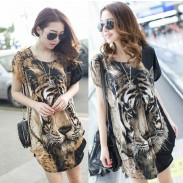 Printed Tiger Head Loose Irregular Bat Sleeve Female T-shirt