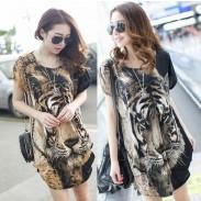 Printed Tiger Head Loose Irregular Bat Sleeve Female T-shirt