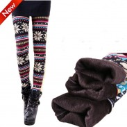 Vintage  Folk Style Snow Plus Thick Velvet Leggings