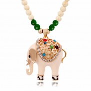 Cute Elephant Beads Sweater Necklace