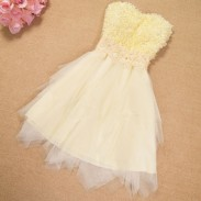 Floral Beading Irregular Layers Gauze Strapless Dress