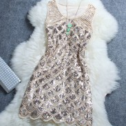 Starry Beaded Sequined Night Club Woman Dress