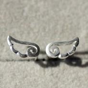 Angel Wings Frosted Silver Stud Earrings