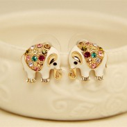 Cute Elephant Bling Colored Diamond Earrings