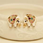 Cute Elephant Bling Colored Diamond Earrings