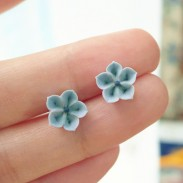 Handmade Original Fresh Fimo Cherry Blossoms 925 Silver Needle Earrings