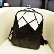 Black White Irregular Contrast Color Backpack