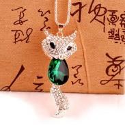 Cute Fashion Crystal Fox Rhinestone Sweater Necklace