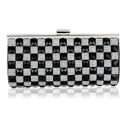 Geometry Grid Rhinestone Fashion Clutch Bag