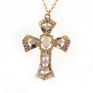 Fashion Diamond Cross Sweater Necklace