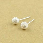 Sweet Scrub Ball Silver Earring Stud
