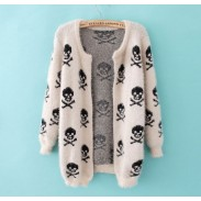 Printed Skeleton Hairy Casual Sweater