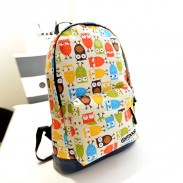 Cute College Style Owl & Leaves Canvas Backpack