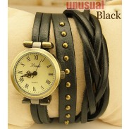 The twist braid winding Rome Leather Wrap Watch-black